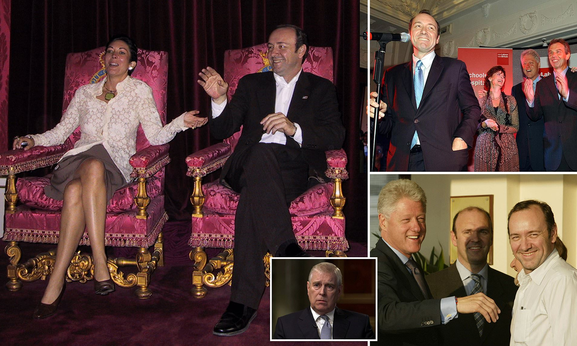 Kevin Spacey w Ghislaine Maxwell Bill Clinton and Prince Andrew